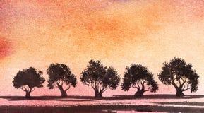 Малые темные силуэты деревьев против фона розового p иллюстрация вектора
