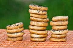 Малые bagels на таблице Стоковое фото RF