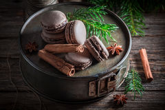 Малые macaroons с циннамоном и шоколадом для рождества Стоковая Фотография