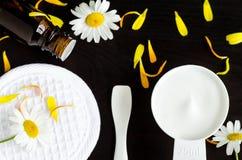 Малый ветроуловитель с белой маской/лицевой сливк с выдержками цветков Стоковые Фото