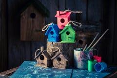 Малый дом птицы и голубая схема конструкции Стоковые Изображения