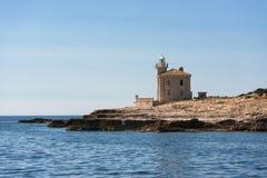 Малый маяк на острове на Brijuni, Хорватии Стоковая Фотография