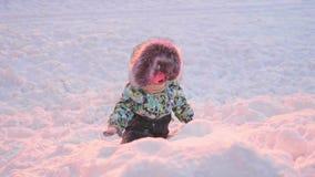 Малый ребенок играет в парке зимы зима дня солнечная Потеха и игры в свежем воздухе акции видеоматериалы