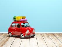 Малый ретро автомобиль перемещения на поле Стоковая Фотография RF