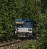 Малый тепловозный поезд в городке Jablonec nad Jizerou Стоковое фото RF