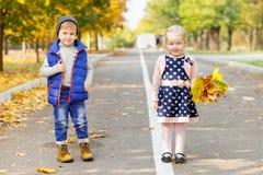 2 малых дет идут в парк осени Стоковые Изображения RF