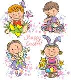 Малыши иллюстрации празднуют пасху Стоковая Фотография