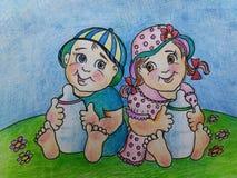 малыши Молоко влюбленности близнецов иллюстрация штока