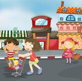 Малыши на дороге иллюстрация вектора