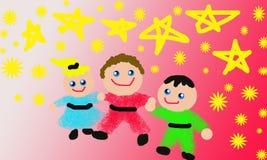 малыши смотря звезды Иллюстрация штока