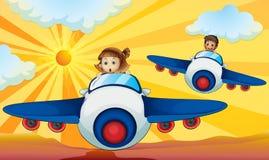 Малыши управляя аэропланом бесплатная иллюстрация