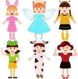Малыши шаржа женские в костюмах Стоковые Изображения RF
