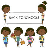 Малыши школы African-American Cheerfull бесплатная иллюстрация