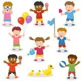 Малыши держа предметы установлено Стоковое Фото