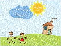 малыши doodle счастливые иллюстрация штока