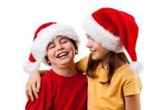 малыши santa claus обнимая Стоковое Изображение RF
