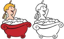 малыш ванны иллюстрация штока