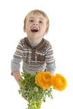 малыш владениями цветков potted Стоковое фото RF