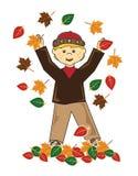 Малыш в мальчике светлых волос листьев бесплатная иллюстрация