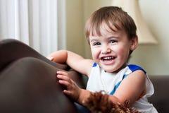 малыш коричневых волос мальчика смеясь над Стоковые Изображения RF