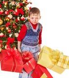 малыш подарка рождества коробки Стоковая Фотография