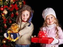 малыш подарка рождества коробки Стоковое Изображение