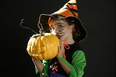 малыш halloween девушки costume Стоковая Фотография