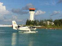 Мальдивский самолет моря стоковая фотография