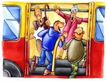 мальчики везут грубый стоп на автобусе Стоковое фото RF