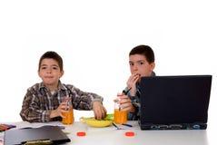 мальчики делая домашнюю работу Стоковое Изображение RF