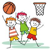 Мальчики дерева счастливые, баскетбол, смешная иллюстрация Стоковое фото RF