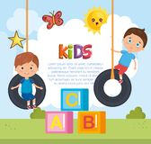 Мальчики играя на парке бесплатная иллюстрация
