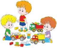 Мальчики играя с автомобилями игрушки бесплатная иллюстрация