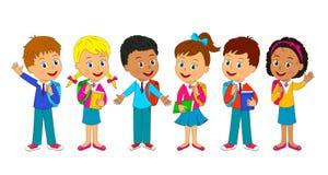 Мальчики и девушки с сумкой Стоковые Фото