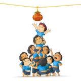 Мальчики ломая Dahi Handi бесплатная иллюстрация