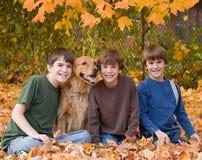 мальчики падают листья Стоковые Изображения