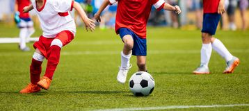 Мальчики пиная футбольный матч на траве Футбольная игра молодости ChildreBoys пиная футбольный матч на траве Футбольная игра моло стоковое фото rf