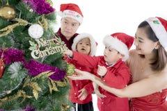 Мальчики украшают рождественскую елку с их родителями Стоковая Фотография