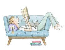Мальчик акварели лежит на софе и читает книгу иллюстрация вектора