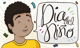 Мальчик брюнет с пузырем речи празднуя день ` s детей в испанском языке, иллюстрации вектора иллюстрация штока