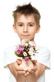 мальчик букета стоковые фотографии rf