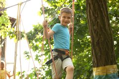 Мальчик взбираясь в парке приключения стоковые изображения