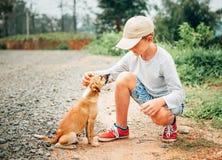 Мальчик встречал маленького бездомного щенка на улице Стоковые Изображения RF