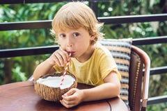 Мальчик выпивает домодельное молоко кокоса от половины кокоса Стоковые Фотографии RF