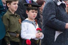 Мальчик в костюме советского матроса стоковое фото rf