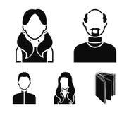 Мальчик в крышке, redheaded подросток, дед с бородой, женщина Значки собрания воплощения установленные в черном векторе стиля Стоковое Фото