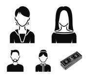 Мальчик в крышке, redheaded подросток, дед с бородой, женщина Значки собрания воплощения установленные в черном векторе стиля Стоковая Фотография RF