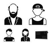 Мальчик в крышке, redheaded подросток, дед с бородой, женщина Значки собрания воплощения установленные в черном векторе стиля Стоковая Фотография