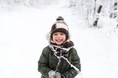 Мальчик в парке зимы Стоковое фото RF