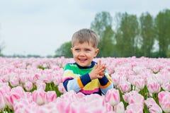 Мальчик в поле тюльпана Стоковые Изображения